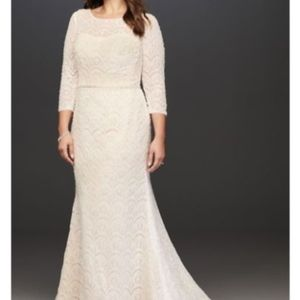 Oleg Cassini Boatneck 3/4 Sleeve Wedding Dress